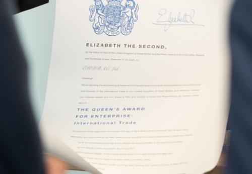 Queens Award Certificate
